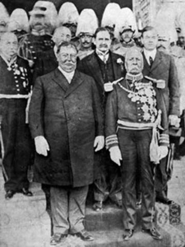 El presidente Porfirio Díaz se entrevista en El Paso y en Ciudad Juárez, con el presidente de los Estados Unidos de América, William H. Taft.