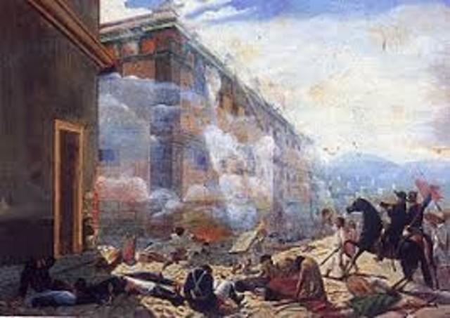 Los insurgentes asaltan la alhóndiga de Granaditas. Muere el intendente Juan Antonio Riaño y la ciudad es saqueada.