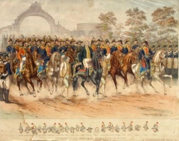 Mina y 300 soldados avanzan al interior del país y se apoderan de 700 caballos en la hacienda de El Cojo.