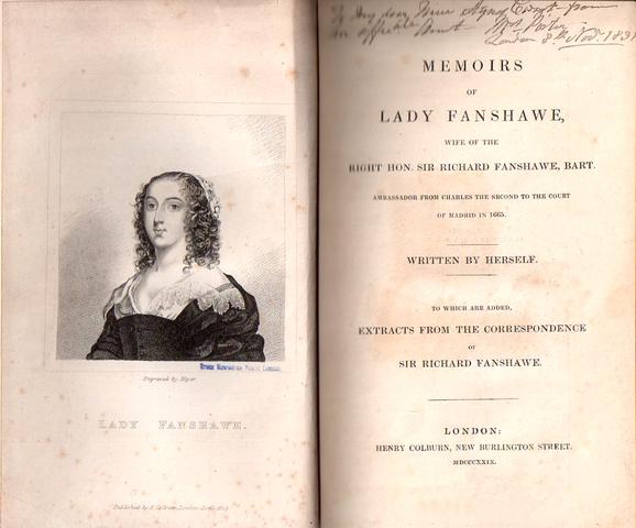 Publishing of Memoirs by Lady Anne Fanshawe