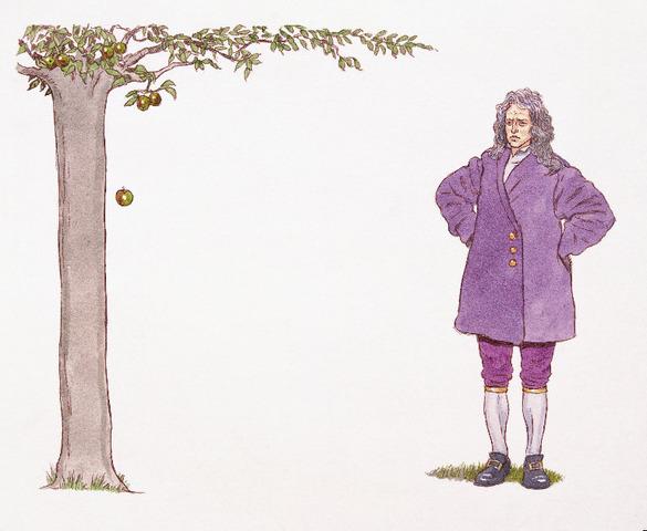 Isaac Newton hit by an apple