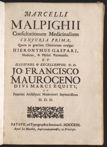 Malpighi publica su primer trabajo importate titulado De pulmonibus.