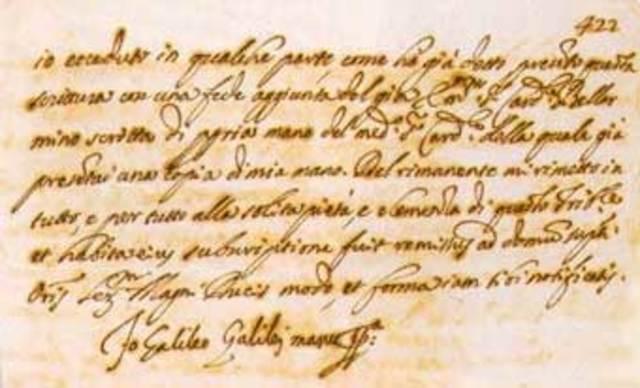 Galileo envia una carta a la Gran Duquesa Cristina.