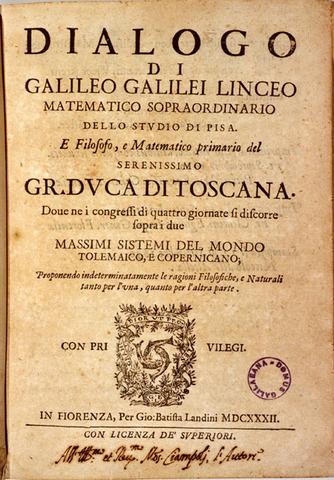 Se genera la impresion del Dialogo, escrito por Galileo.