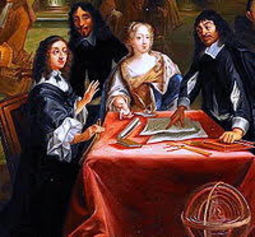 La reina Cristina de Suecia invita a Descartes a unirse al circulo de intelectuales que ella habia reunido en Estocolmo.