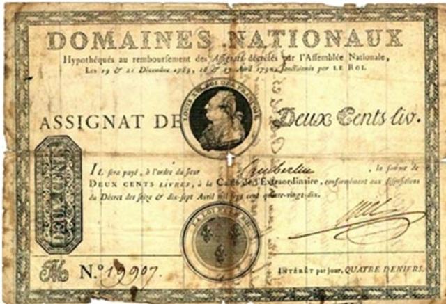 Introducción de los Assignats como papel moneda.