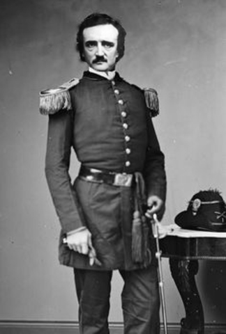 Poe enlists in thhe U.S. Army and shortly after his first book is published.