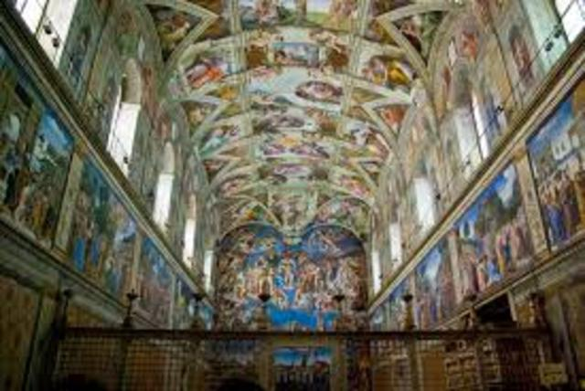 The Sistine Chapel ceiling was panted