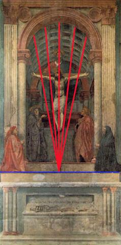 Masaccio incorporates Brunelleschi's discovery into his art