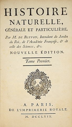 """Publicación de los primeros tomos de la obra """"L'Histoire Naturelle"""" de Buffon"""