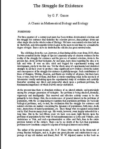 "Georgi Frantsevich Gause publica ""The Struggle for Existence""."