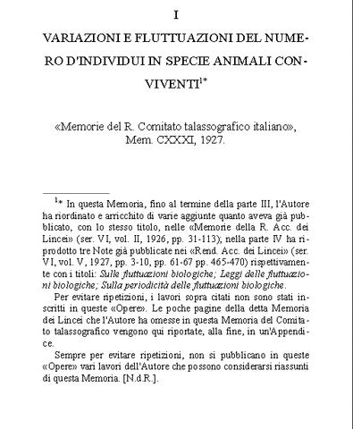 """Vito Volterra  publica la obra """"Variazioni e fluttuazione del numero d'individui in specie animali conviventi""""."""