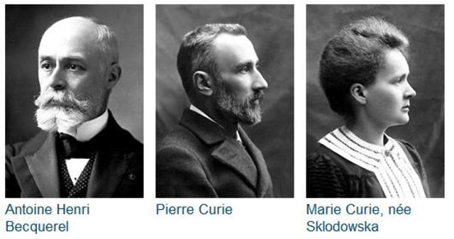 Marie Sklodowska Curie, Pierre Curie, and Henri Becqueral receive Nobel prize for work on radioactivity