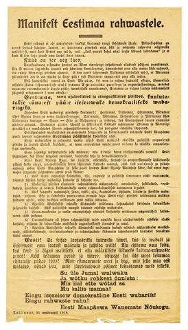 Eesti iseseisvusmanifest ettelugemine