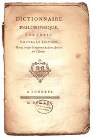 Voltaire udgiver  'dictionnaire Philosophique'