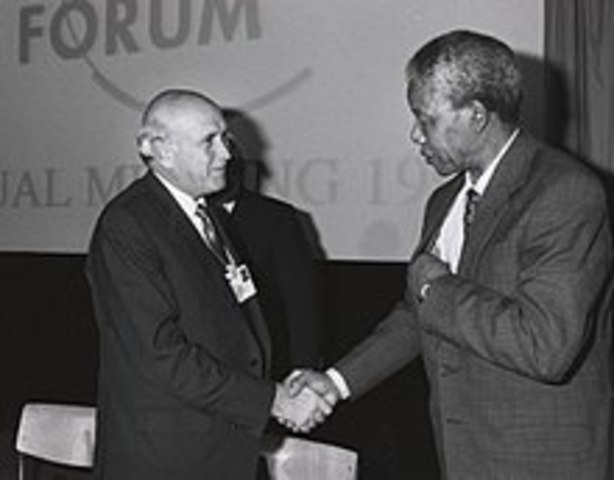 President Pieter W. Botha receives him for a first meeting, and then in December his successor Frederik de Klerk.