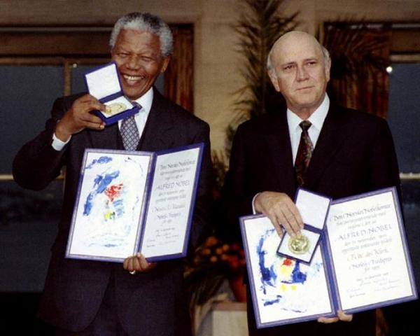 He is Nobel Peace Prize winner along with Frederik de Klerk.