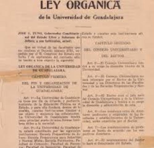 LEY ORGANICA DE LA UNIVERSIDAD DE GUADALAJARA