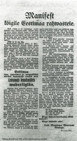 Eesti Iseseisvus manifesti ette lugemine