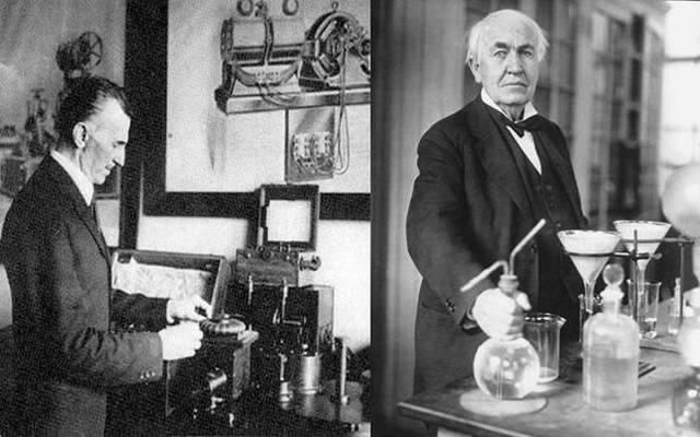 Thomas Edison y Nicolás Tesla