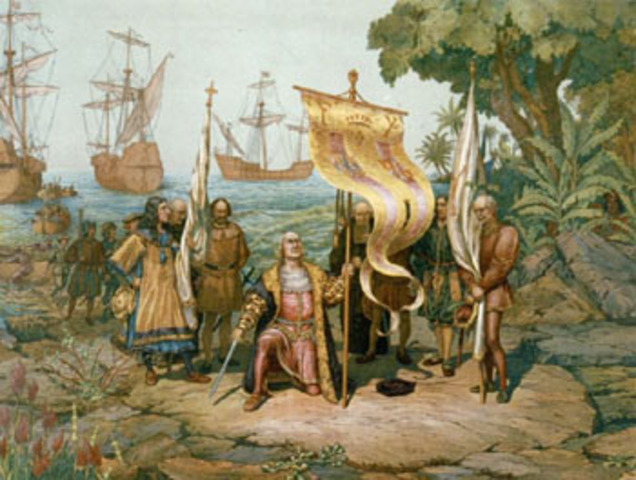 Christopher Columbus lands in the New World