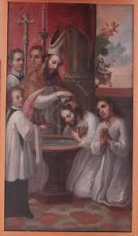 San Agustín recibe el bautismo