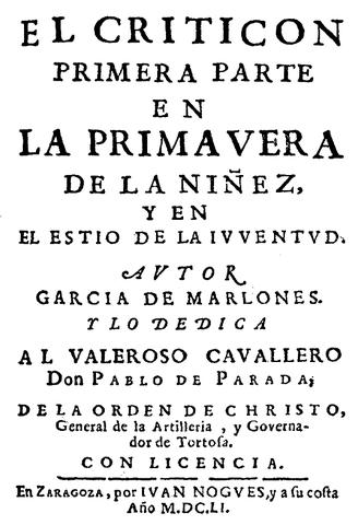 """Gracian publica """"EL Criticón"""""""