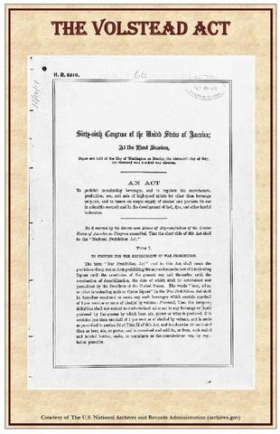 Prohibition- Volstead Act