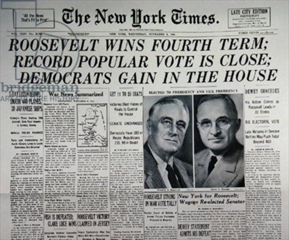 President FDR Wins for the Fourth Time