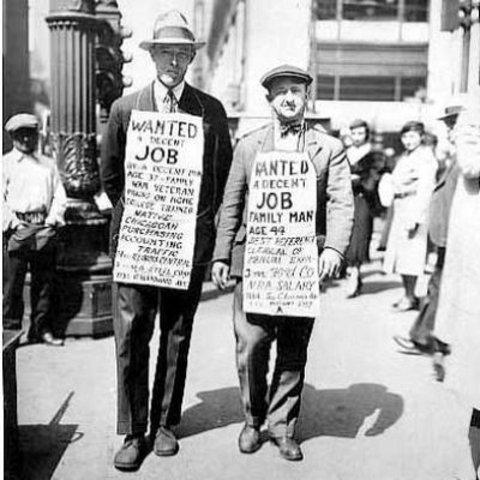 Caída de la bolsa de valores de Wall Street que arrojó a miles de desempleados a las calles