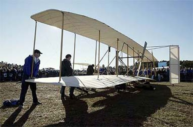The first airplane flight by the Wright brothers.