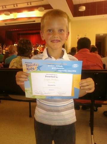 I was awarded a Terrific Kid for honesty!