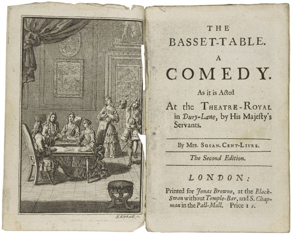 "(Lauren) Susanna Centlivre publishes her play, ""The Basset Table"""