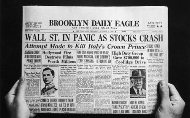 Stock market crash (at the end of the Roaring 20s)