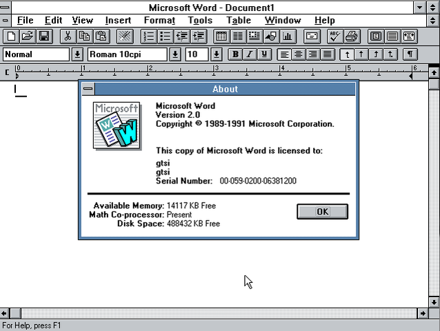 Word para Windows 2.0