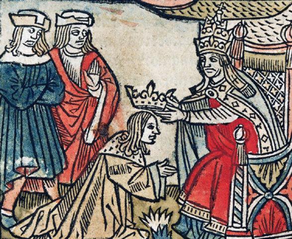 """Η στέψη του Πιπίνου ως """"Ελέω Θεού βασιλέας"""" από τον Πάπα"""