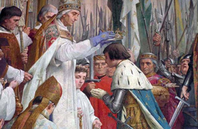 """Στέψη του Καρόλου ως """"Μέγας και ειρηνοποιός αυτοκράτωρ, κυβερνήτης του ρωμαϊκού κράτους"""""""