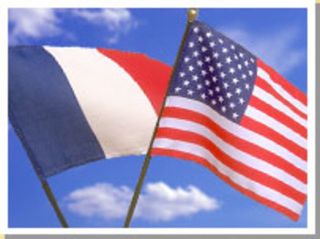 American and French representatives sign two treaties in Paris