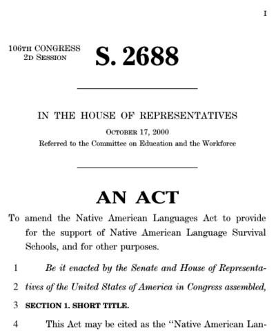 Native American Languages Act