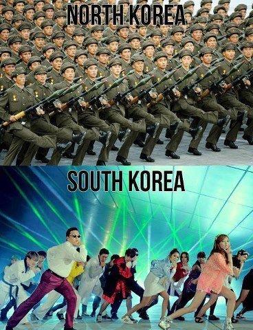 Corea del norte sobre Corea del sur