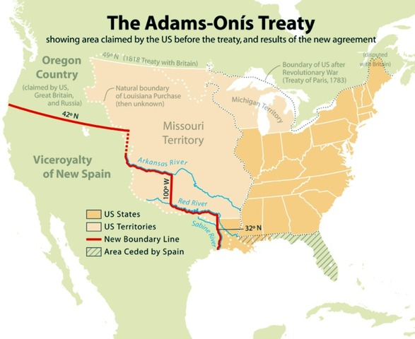 Adams-Onis treaty cedes Spanish territory to the United Sates