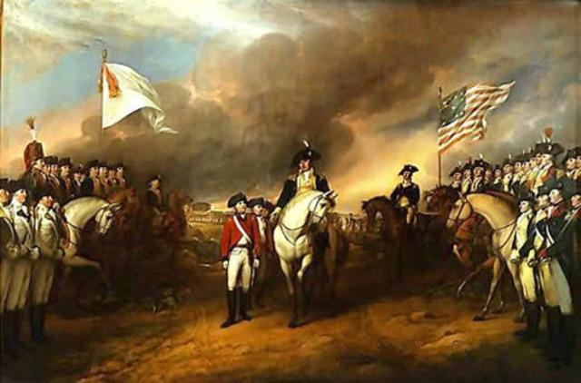 Lord Cornwallis surrenders to the Americans at Yorktown, Virginia