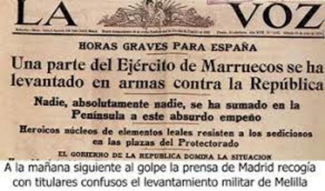 El levantamiento militar de Julio de 1936