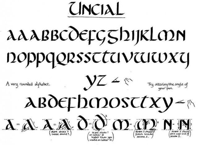 370. Modelo de escritura Uncial.