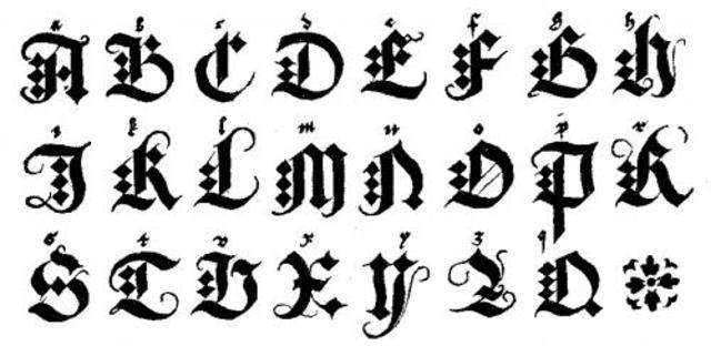 1000. módelo de escritura gótica.