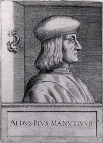 1499, Manuzio combina los tipos de letras redondos, e itálicos en los textos.