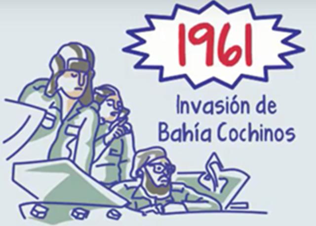 se da la invasion  de emigrados anticastristas en la Bahia de Cochinos o Playa Giron