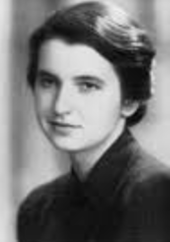"""Rosalind Franklin works with DNA and X-Ray crystallography and develops """"Image 51"""