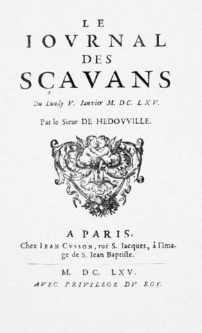 Aparición del Le Journal Des Scavans