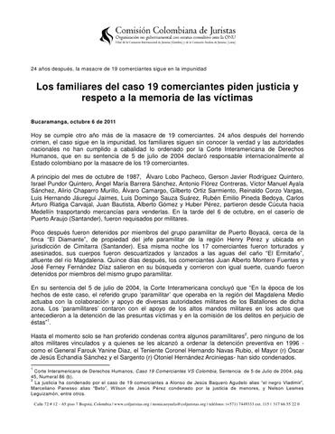 EL ESTADO COLOMBIANO ES DENUNCIADO ANTE LA COMISION INTERAMERICANA DE DERECHOS HUMANOS